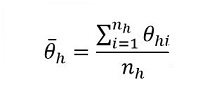 The Theta bar sub h equals the sum  		over i from 1 to n sub h of theta sub h i over n sub h.